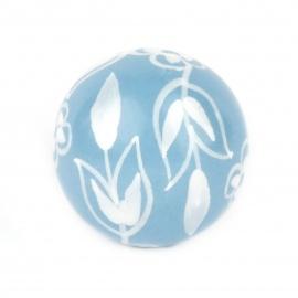 Knauf floral hellblau/weiß