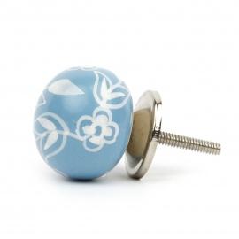 Möbelknauf in Ballform in hellblau mit floralem Bauernmuster