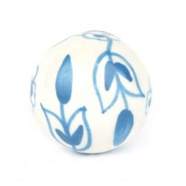 Knauf floral weiß/hellblau