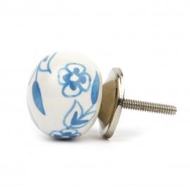 Möbelknauf in Ballform in weiß hellblauem floralem Bauernmuster