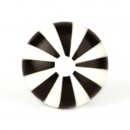 Möbelknauf im Bonbon Look schwarz/weiß