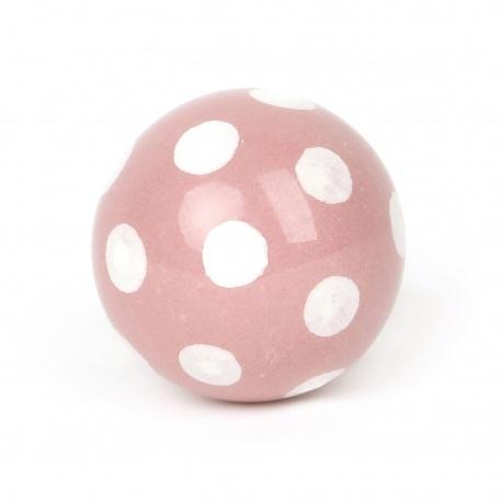 Runder Polka dot Möbelknauf in rosa mit weißen Punkten