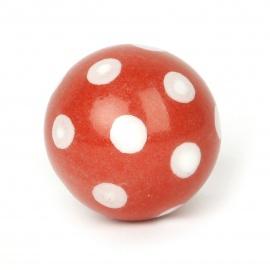 Runder Ballknauf Polka Dot rot mit weißen Punkten