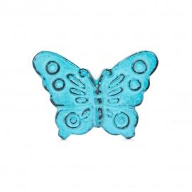 Eisenknauf in Schmetterlingsform blau