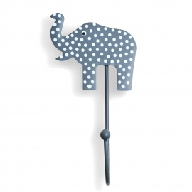 Kinderhaken Elefant Punkte grau