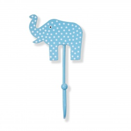 Kinderhaken Elefant Punkte hellblau