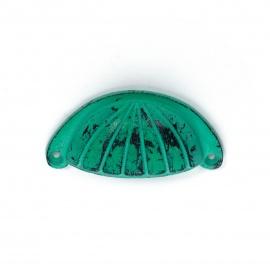 Muschelgriff Eisen Vintage Türkis mit Streifenornament