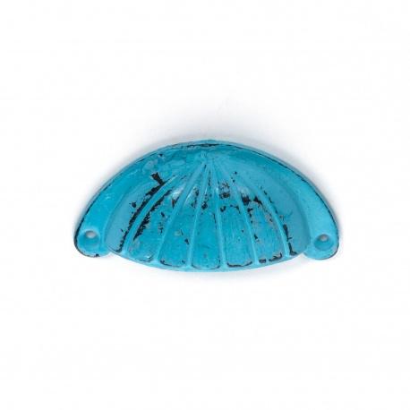 Muschelgriff Eisen Vintage Blau mit Streifenornament