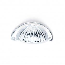 Muschelgriff Eisen Vintage Weiß mit Streifenornament