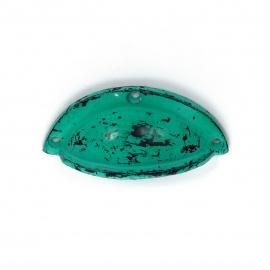 Grüner Muschelgriff aus Gußeisen im Shabby Chic look