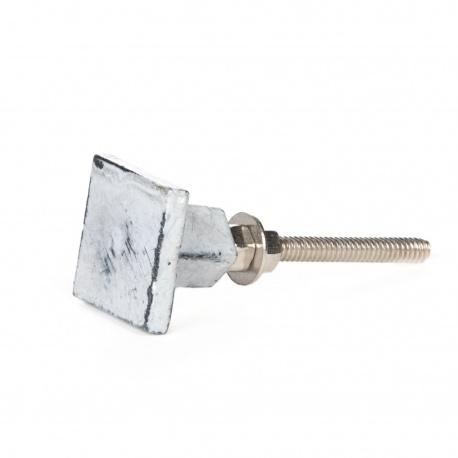 Möbelknauf aus Eisen quadratisch grau