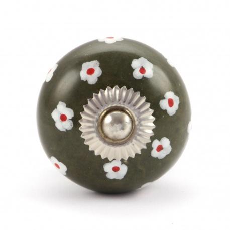 Großer Möbelknauf olivegrün mit handbemaltem Ringelblumenmuster