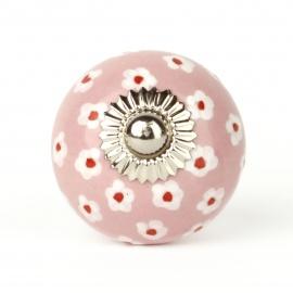 Rosa Möbelknauf mit handbemaltem Ringelblumenmuster