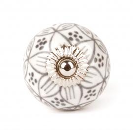 Möbelknauf weiß mit handbemalten Blütenmustern in grau