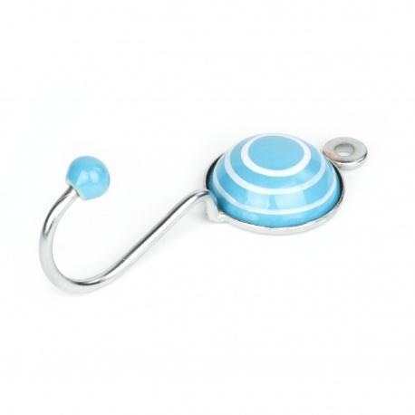 Runder kleiner Kinderhaken in hellblau mit weißen Streifen