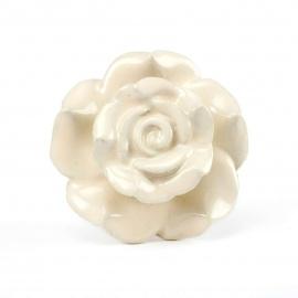 Grosser Möbelknauf in Rosenblütenform in cremebeige