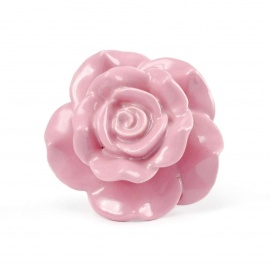 Großer Keramikknauf in Rosenblütenform in Roséfarbe