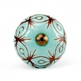 Großer Möbelknopf in türkis mit braunem Ornamentmuster