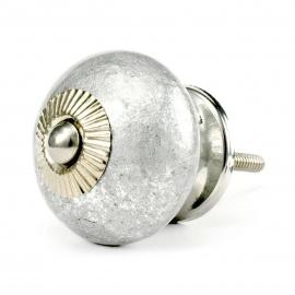 Grosser Keramikknauf im Antiklook in Silber