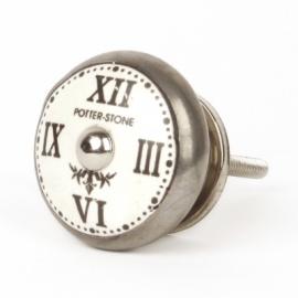 Flacher Möbelknauf aus Keramik mit Aufdruck Römische Uhr