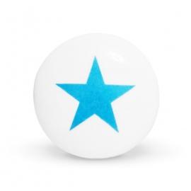 Weißer Keramikknauf mit hellblauem Sternaufdruck