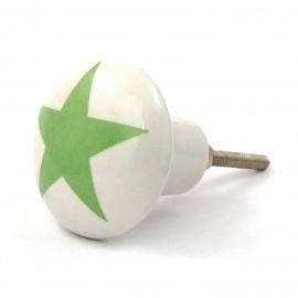 Keramikknauf mit grünem Sternaufdruck
