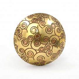 Goldfarbiger Messingknauf mit kleinen Spiralen