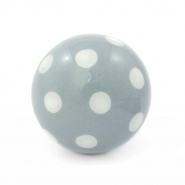 Runder Polka dot Möbelknauf in grau mit weißen Punkten