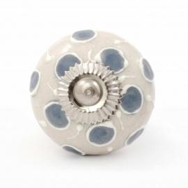 Handbemalter Keramikknauf in beige mit erhabenem Punktmuster grau und weiß