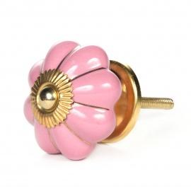 Blütenförmiger rosa Möbelknauf mit goldenen Streifen und Goldgewinde