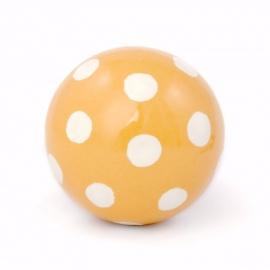 Möbelknauf in Ballform in gelb mit weißen Punkten