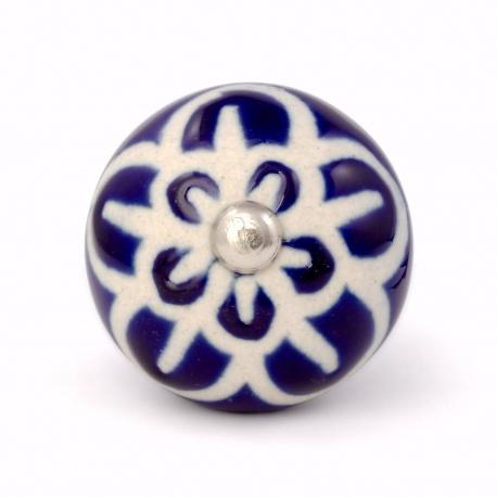 Möbelknauf im kräftigem dunkelblau mit Ornamenten