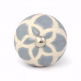 Großer runder Möbelknauf mit graublauer Herzblume