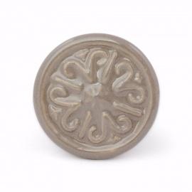Graubrauner runder Keramikknauf mit orientalischen Ornamentmuster
