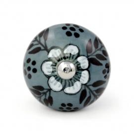 Handbemalter Möbelknauf Botanik in grau mit Blume