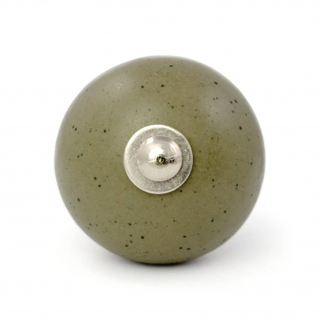 Großer Runder Kermikknauf in olivgrauer glatter Steinoptik