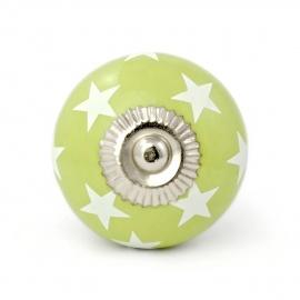 Großer Möbelknauf in grün mit weißen Sternchen