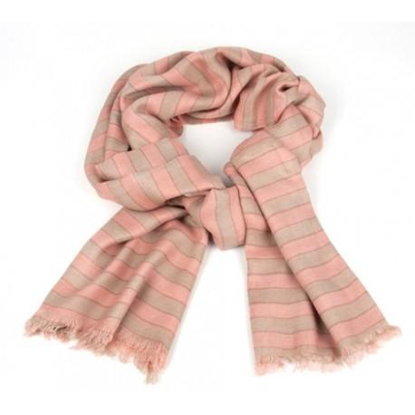 Schal Streifen Taupe/Rosé